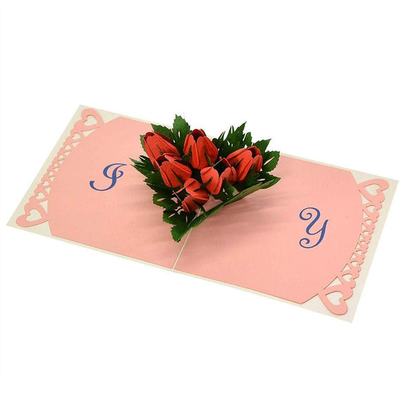 Love Pop Up Cards with Unique Heart of ROSES Design, The Perfect Handmade Gifts for Your Lover On Valentine