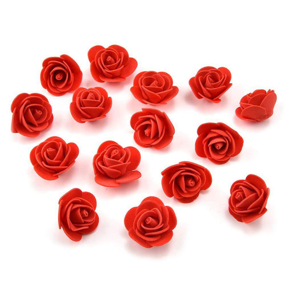 Artificial Flowers Fake Flower Heads Mini PE Foam Roses for Valentine's Day Fake Flowers (red)