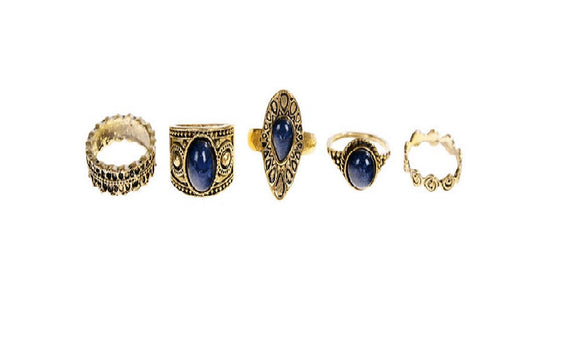 5 Pcs Pinksee Vintage Navy Blue Crystal Knukle Finger Rings(Adjustable)