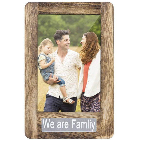 Photo Frame 4x6 for Table Top Display and Wall Mounting We are Family Theme Vertical Picture Frame Carbonized Black