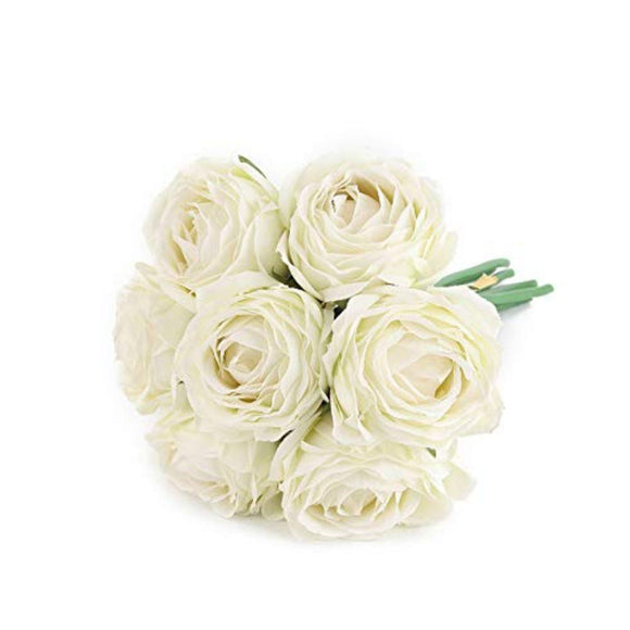 Artificial Flowers Fake Silk Rose Plants Decor for Home Garden Wedding Party Decor Decoration (White)