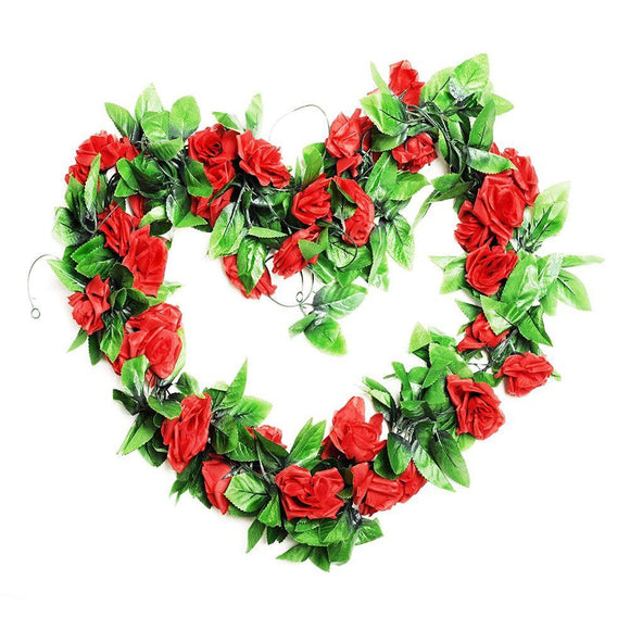 15FT Artificial Rose Vine Silk Flower Garland Fake Hanging Rose Flower for Home Office Garden Hotel Wedding Party Valentine Day Decor