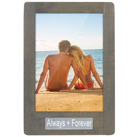 Photo Frame 5x7 for Table Top Display and Wall Mounting Always Forever Theme Vertical Picture Frame Weathered Green Valentines Day