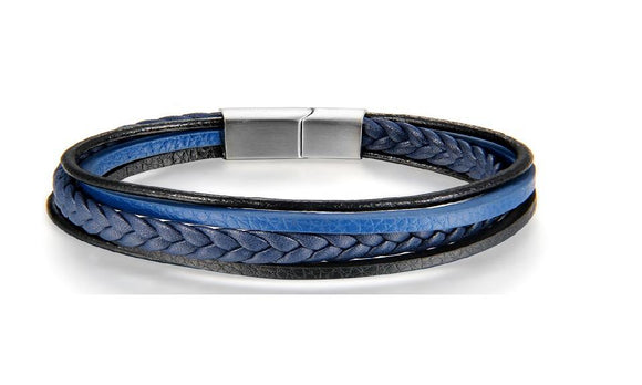Blue Multilayer Leather Bracelet For Men -Women