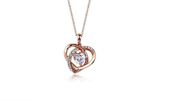 Austrian Crystal Twisted Heart Necklace Pendant