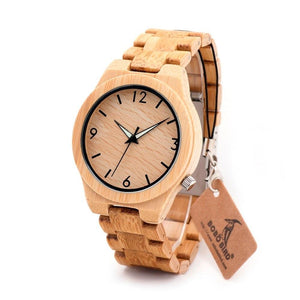New Luxury Men Watch Natural All Bamboo Wood Wristwatch