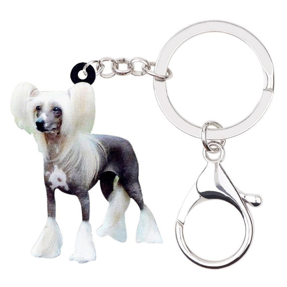 Animal Handbag Chinese Crested Dog Key Chains Car Keyring