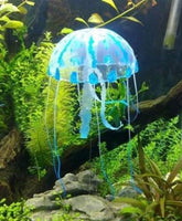 Artificial Silicone Vivid Glowing Jellyfish for Fish Tank Aquarium Decoration Blue Color