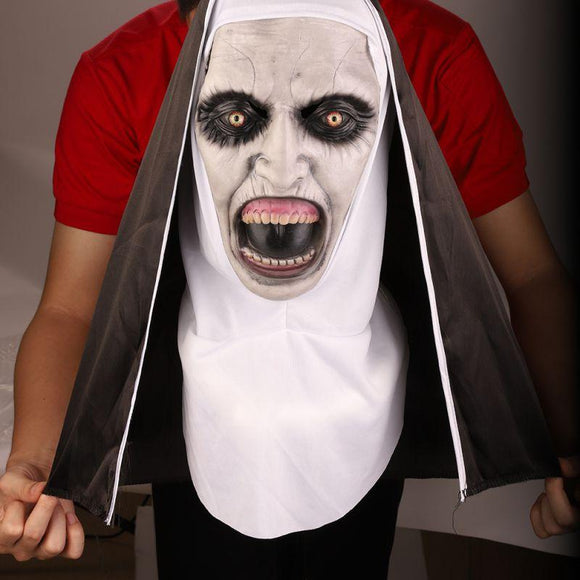 Halloween Full Face Covered Horror Nun Mask With Headscarf