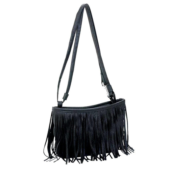 Trendy Women Flap Soft Leather Shoulder Bag Simple Fringed Crossbody Bag