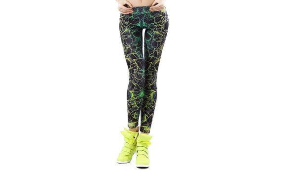 Beautiful 3D Printed Ray fluorescence Leggings for Woman