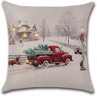 Farmhouse Christmas Tree in Red Car Pillow Cover Pillow Case Cushion Cover