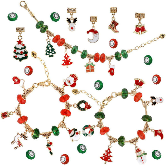 Christmas DIY Charm Bracelet Making Kit (53 pcs) for Girl Teens & Kids