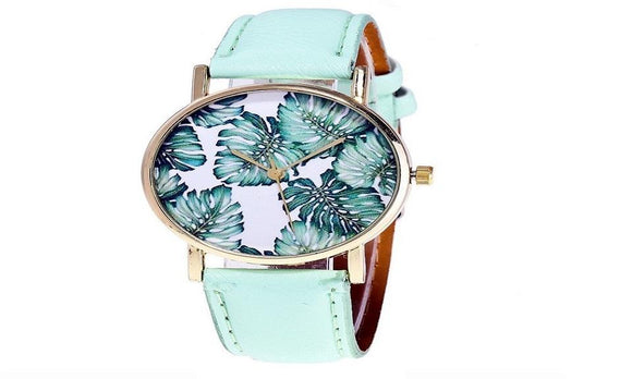 Fashion Tropical Leaf Watch Casual Vintage Leather Ladies watch