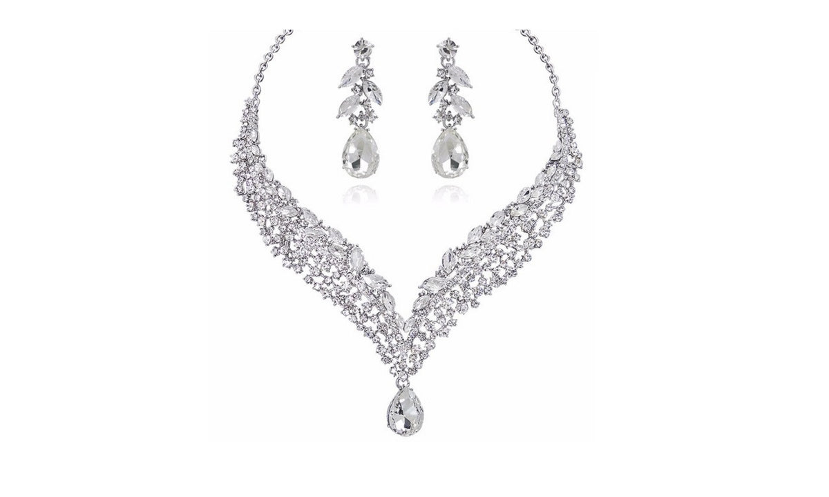 Austrian Crystal Rhinestone Water Drop Jewelry Set