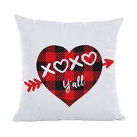 "XOXO Y'all Throw Pillow Cover Cushion Case for Sofa Couch Valentines Day Buffal Plaids Home Decor Cotton Polyester 18"" x 18"" Inch - sparklingselections"