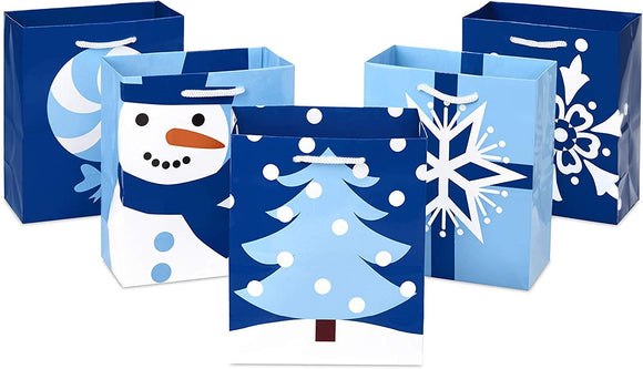 Small Holiday Gift Bag Pack of 5 Blue