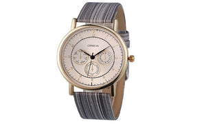 New Stylish Leather Band Wood Chronograph Wrist Watch