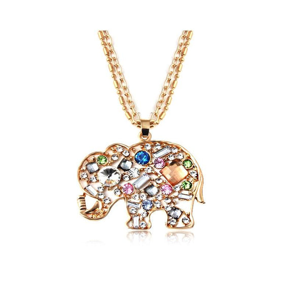 New Cute Crystal Rhinestone Elephant Pendant Necklace