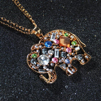 New Cute Crystal Rhinestone Elephant Pendant Necklace Fashion Crystal Women's New Gifts Jewelry