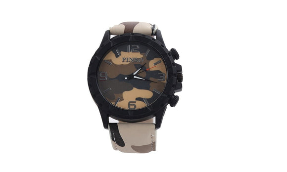 Casual Quartz Watch Men Army Camouflage Soldier Leather Strap Sports