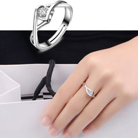 Silver White Zircon Elegant Ring For Women (Adjustable) - sparklingselections