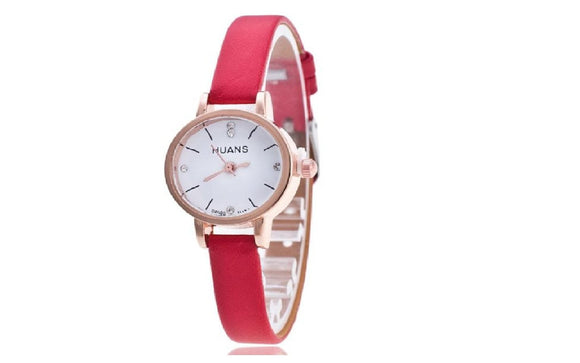Luxury Fashion Vintage Date Pu Leather Watch For Women