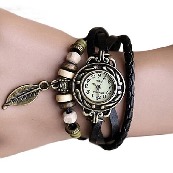 New Retro Butterfly Leaf Fashion leather Bracelet Wrist Watch