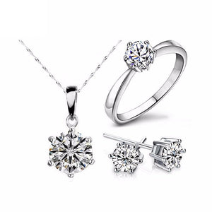 New Cubic Zircon Silver Pleated Jewelry Sets