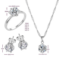 Hot Selling Jewelry Sets Wedding Cubic Zircon Silver Pleated Necklace, Earrings, Ring Jewelry For Women Fashion Accessories