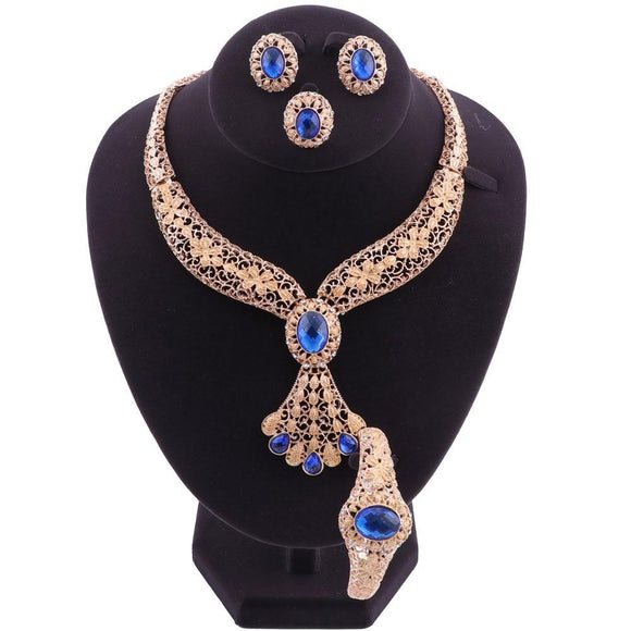 New Fashion Element Gold Color Hollow Flower Bead Jewelry Set
