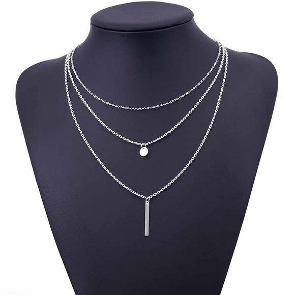 New Hollow Out Gold Plated 3 Layer Chain Necklace