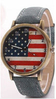 Fashion Vintage Style American Flag Casual Leather Strap Wrist Watch For Women