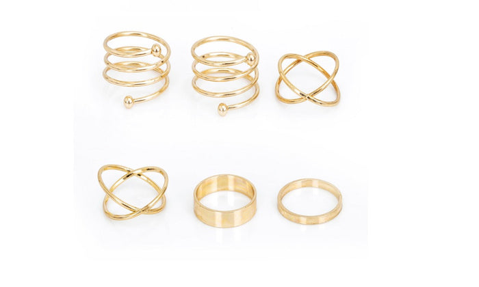 6 Pcs Unique Ring Set Punk Gold Plated Knuckle Rings(Adjustable)