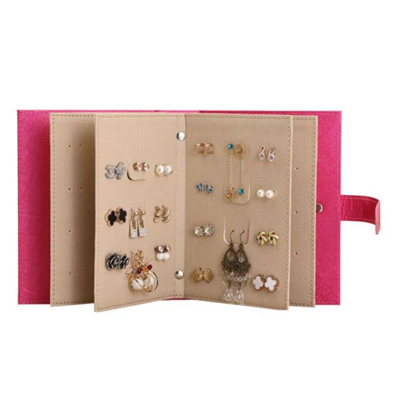 Women Makeup Stud Earring Collection Necklace Jewelry Book Storage Bag