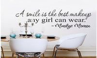 A Smile is The Best Makeup Vinyl Removable Wall Decal