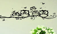 Black Owl Cartoon Removable Vinyl Wall Sticker