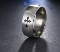 Silver and Black Zinc Plated Cross Symbol Stainless Steel Ring
