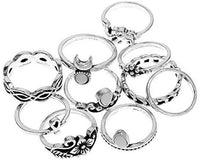 Set of Carved Boho Beach Elephant Moon Knuckle Ring Vintage Statement Fashion Midi Finger Women Ring 10Pcs