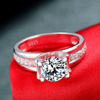 1.5 Carat Cubic Zirconia Wedding Ring for Women White Gold Luxury Engagement Ring