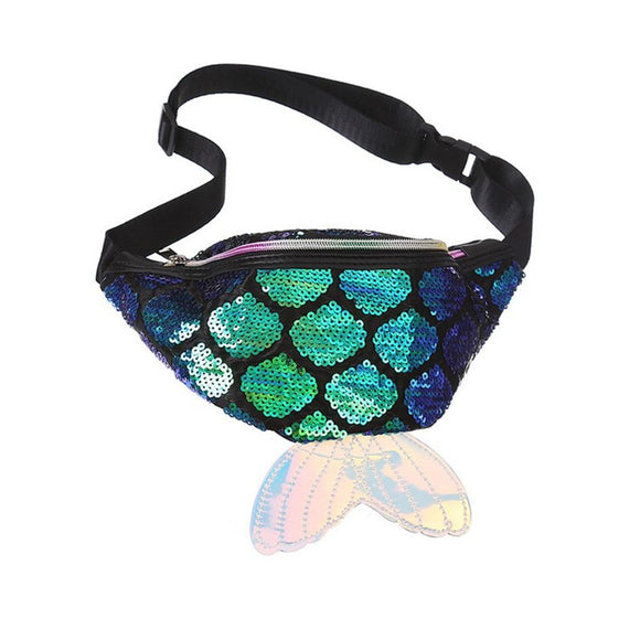 New Mermaid Tail Fanny Pack Colorful Sequin Waist Bag Chest Pouch Bag