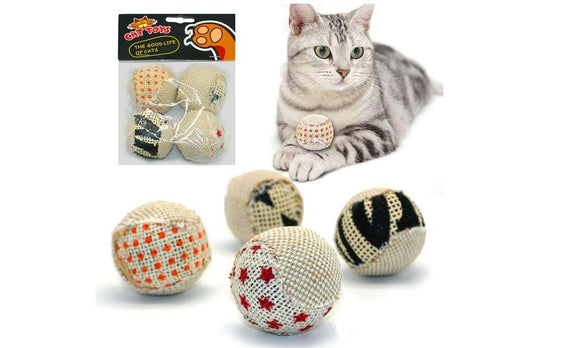 4pcs/pack Interactive Play Chewing Rattle Scratch Catch Ball Cat Toy