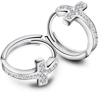 Hot Selling New White Diamond CZ Beautiful Cross Huggie Hoop Earring for Women, Girls Punk Jewelry