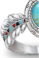 Fashion Vintage Cubic Zirconia Turquoise Feather Cocktail Bridal Wedding Ring For Women