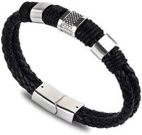 Hot Selling Men Black Braided Leather Bracelets Geometric Fashion Strand Sports Casual Bracelets