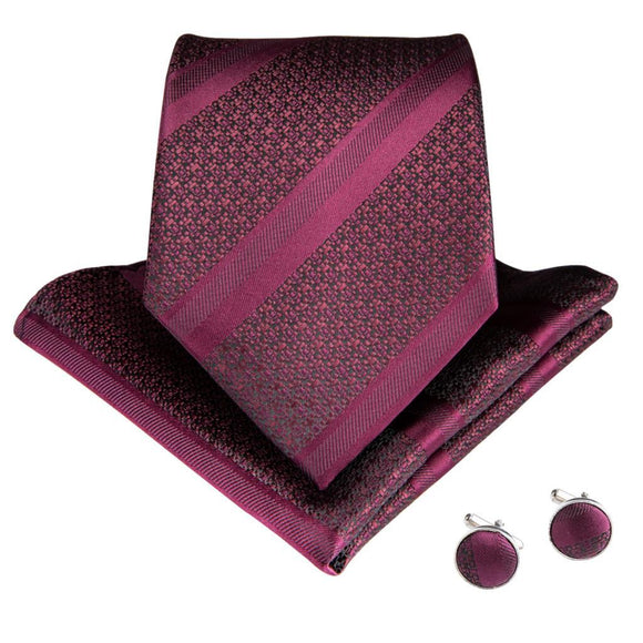 Men Silk Tie Pocket Square Cufflinks Set Neck Tie Gift for Business Wedding