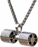 New Stainless Steel Pendants Sporty Trendy Dumbbell Charm Chain Link Necklace Men Boys