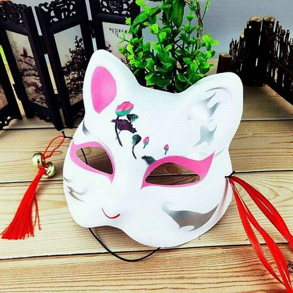 2019 Halloween Fox Mask Hand-Painted Japanese Half Face Mask