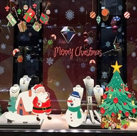 Christmas Window Xmas Santa Claus Removable Wall Decals DIY Home Decor Glass Door Decal - sparklingselections
