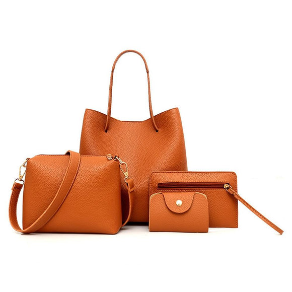 Women Leather Shoulder, Crossbody, Clutch Luxury Handbags 4pcs set